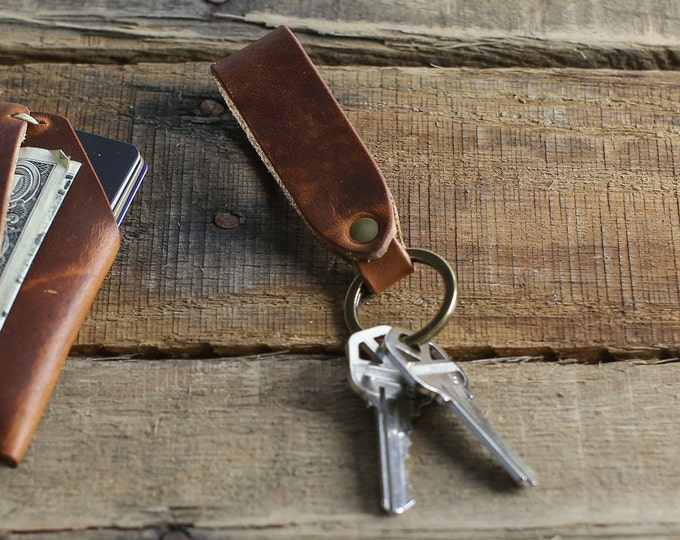 Custom Leather Keychain Fob // Horween Leather English Tan // Antique Brass Hardware