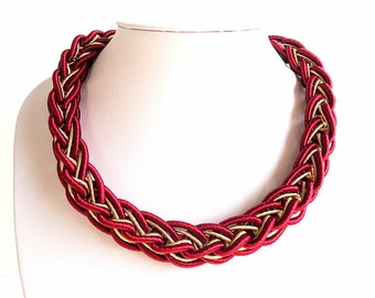 Scarlet Red necklace, Marsala red necklace, Collar necklace, Bib necklace,  Blood red necklace, short necklace, silk cord necklace, Wine red
