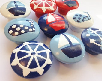 Red and Navy Nautical Drawer Knobs - perfect for your nautical nursery