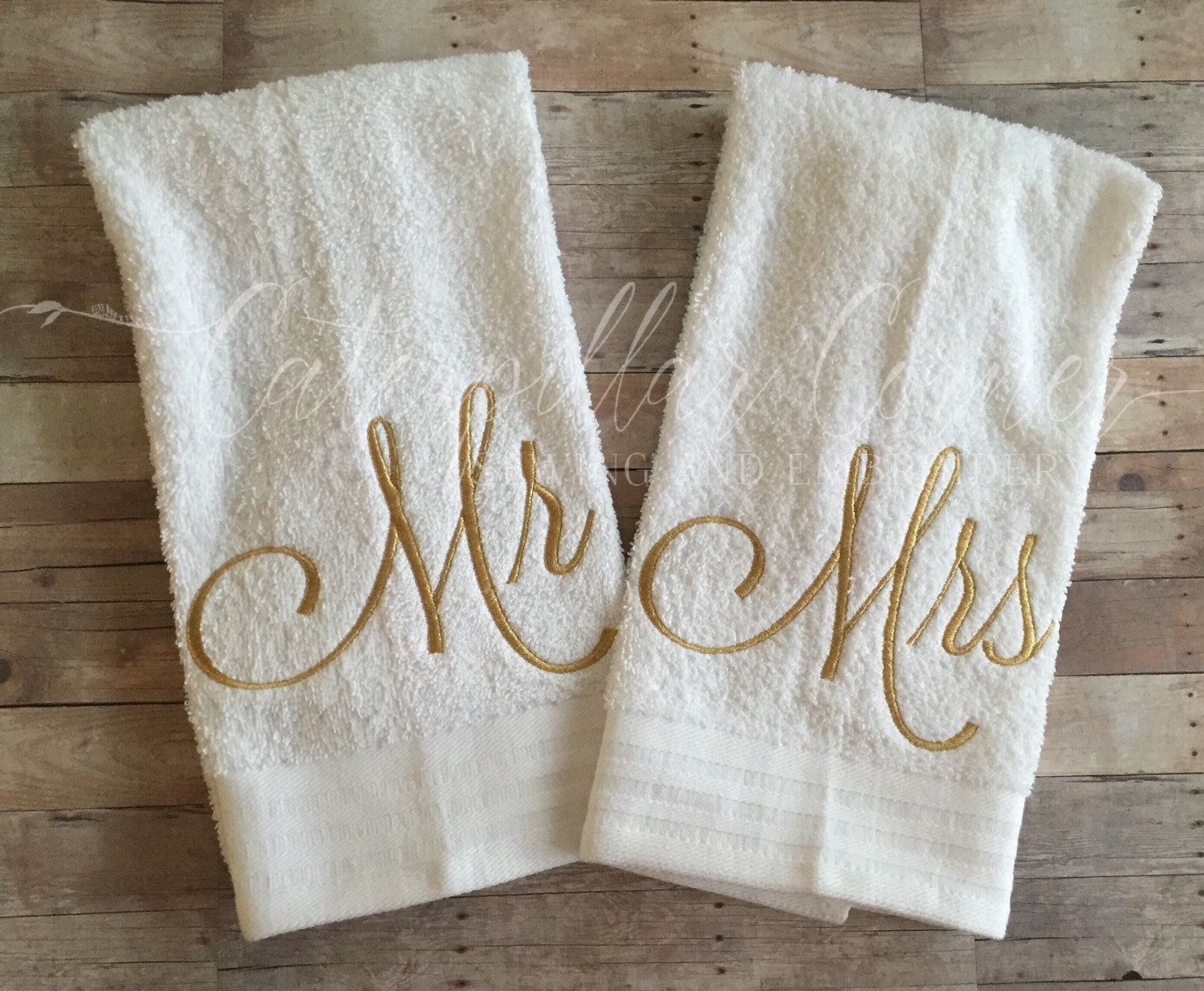 Wedding Gift Towels: Mr And Mrs Wedding Gift Hand Towels Bridal Shower Gift