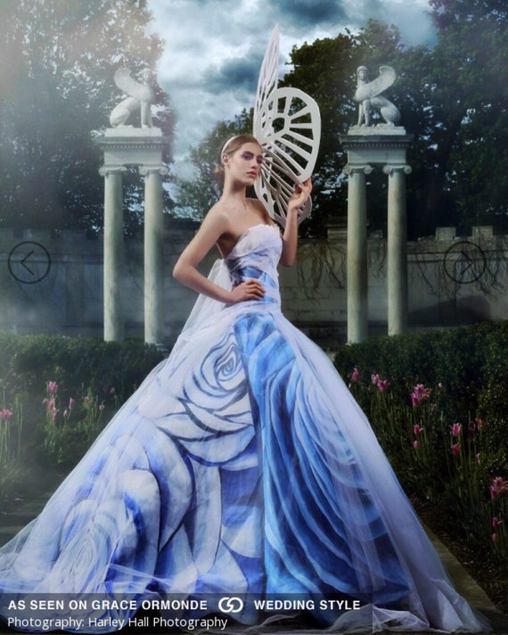 """IRINA SHABAYEVA COUTURE hand painted """"Blue Rose"""" also comes in black rose , pink rose , blue rose and other custom colors"""