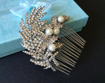 Romantic feathers Swarovski rhinestones crystals and pearls wedding bridal hair comb, rhinestones comb, hair accessory, wedding comb, engage