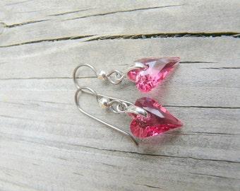 Swavorski heart earrings.  Valentine Earrings.  Dainty Earrings.  Hypoallergenic.