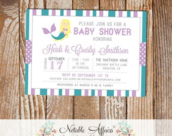 Teal and Lavender Mermaid Stripes and Polka Dots Baby Shower invitation - choose your colors - Blonde Mermaid Under the Sea Baby Shower