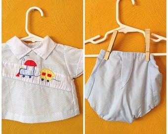 Vintage baby boy two piece outfit/ train outfit/ baby boy vintage / summer outfit/ retro baby clothes size 0/6M