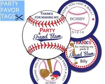 Baseball Favor Tags - Baseball Tags, Baseball Party Favor Tags, Baseball Birthday Party, Thank You Tags, Baseball Party Printables