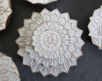 SALE 50 OFF Vintage Metal Clay Stamps One Geometric Flowers Craft Art Supplies Pottery Stamp Ceramic Stamp Fabric Candle Stamp Soap Stamp