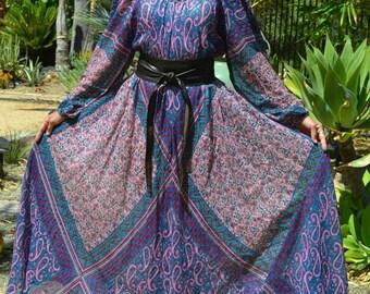 70's India RARE Sultana Adini Gypsy Goddess boho paisley floral block print metallic flowy sheer thin cotton gauze billowy sleeve Maxi dress