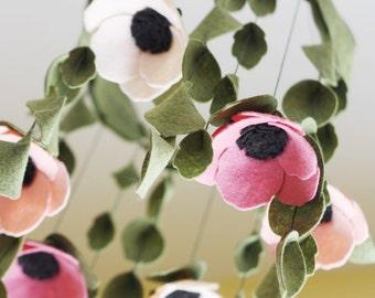 Custom Baby Mobile || Nursery Mobile || Mobile || Anemone Mobile || Floral Mobile || Flower Mobile || Felt Mobile || Nursery || Boho Mobile