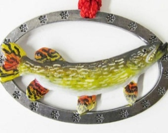 Painted ~ Northern Pike Large ~ Holiday Ornament ~ FP063OR