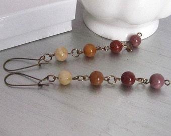 Mookaite Gemstone Earrings, Jasper Dangle Earrings, Earth Tones, Semi Precious Stone