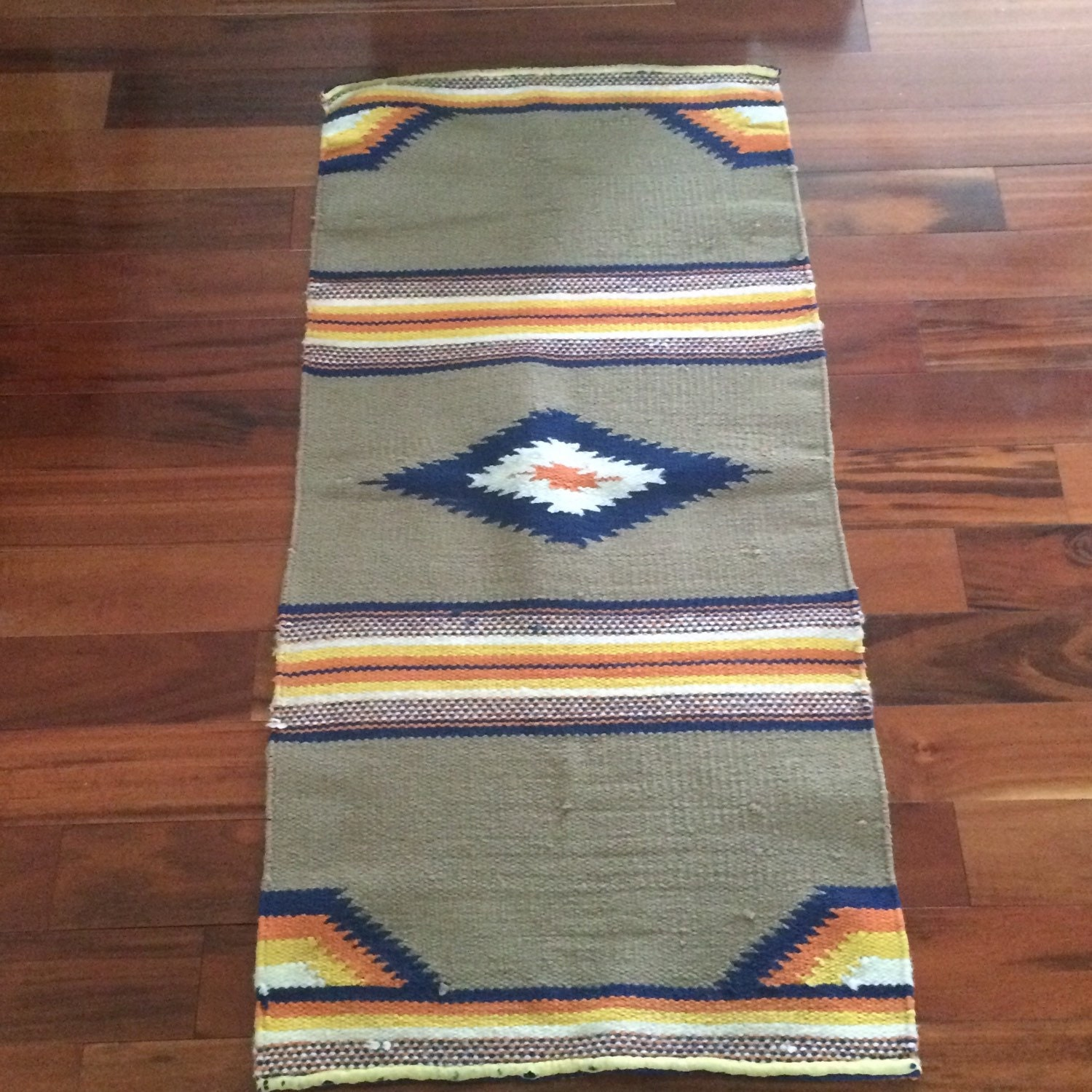 Saddle Blanket Woven Wool Rug Mexican Floor Runner By Callaina