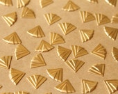 16 pc. Raw Brass Art Deco Fan Stampings: 12mm by 9mm - made in USA | RB-762