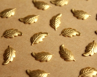 24 pc. Tiny Raw Brass Leaves: 13mm by 7mm - made in USA | RB-793