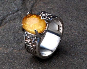 Citrine Flower Vine Ring, Ancient Style Scroll Ring, Roman Citrine Statement Ring, Hammered Wide Band Ring, Ancient Jewelry, Gemstone Ring