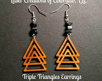 Wooden Jewelry, Triple Triangles, Laser Engraved