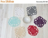 CLEARANCE Doilies set of 6 crochet Coaster mat pad square purple pink white mint green gray beige table placemat doily small tiny miniature