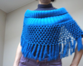 Blue scarf shrug stole poncho crochet knit blue handmade royal shawl wrap collar fringed openwork cable for women her gift