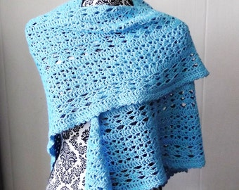 Turquoise Lacy Shawl Crochet Summer Easter Wedding Mothers Day Wrap Glamorous Elegant
