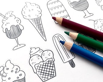 Planner stickers - Yummy ice cream to color