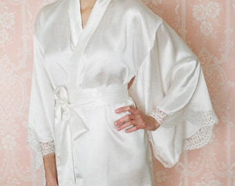 "A bridal ""Noguchi"" kimono robe in satin with scalloped cut out lace trim and pockets. Satin bridal robe Bridal lingerie Honeymoon lingerie"