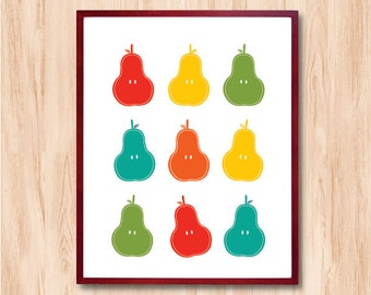 Pears - Kitchen art Fruit Personalized Custom Color Baby Children decor Kids Room Wedding Birthday