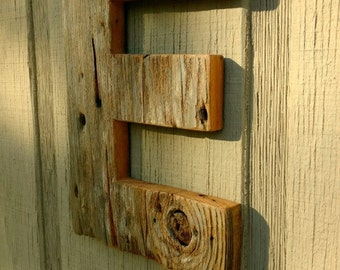 Barn Wood Letter E/ Cabin Decor / Reclaimed Wood Letter / Primitive Letter E / Farmhouse Wall Decor / Unfinished Barn Wood Letter