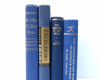 Navy Royal Blue Vintage Books / Book Decor / Book Bundle / Instant Library / Home Decor / Staging