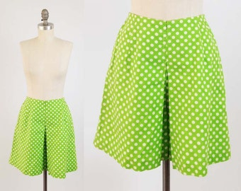 Vintage 60s Lime Green Shorts - MOD High Waisted Polka Dot Skort Skirt - Cute Cotton Pin Up Shorts - Size Extra Small XS