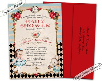 alice in wonderland baby shower invitation girl. Alice in wonderland baby shower invitation for girl. Digital printable or printed.