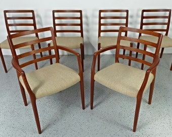 set of 6 mid century Danish modern JL Moller #85 #68 teak tweed dining chairs