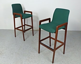 pair mid century Danish modern teak green tweed Tarm Stole bar stools