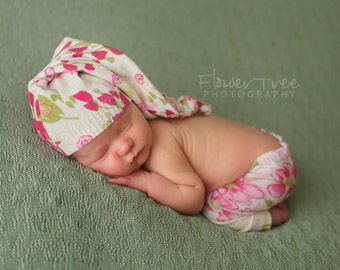 Newborn Girl Hat & Pants Set Upcycled Floral Girls Spring Set Newborn Photography Prop READY TO SHIP Newborn Girl Props, Newborn Photo Props