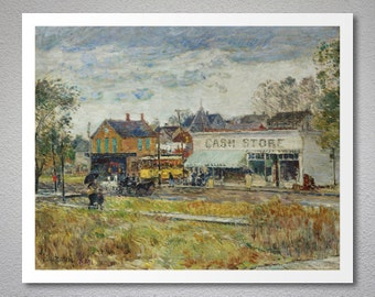End of The Tram, Oak Park, Illinois by Childe Hassam - Poster Paper, Sticker or Canvas Print