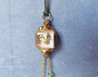 Tiny bird in vintage watch case with swarovski crystal dangles #BB14