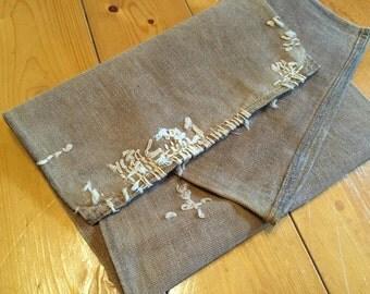 Vintage Japanese Cotton Boro Patched Sake Bag, Sakabukuro-564