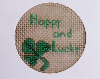 St. Patrick's Day, Cross Stitch Card, Happy and Lucky, Ready to Ship, Handmade Card