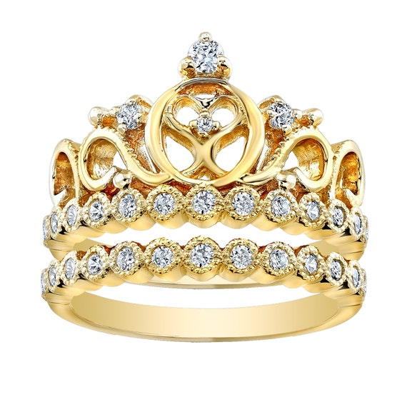 sterling silver crown ring princess ring and band set