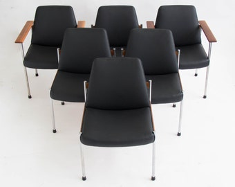 Set of Six Teak and Leather Dining/Conference Chairs by Sven Ivar Dysthe