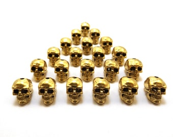 20 Gold Tone Pewter 12mm Skull Beads with Vertical Hole - 5177