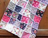 SALE: Indigo purple, pink, grey, white floral baby girl rag quilt, baby shower, baby gift