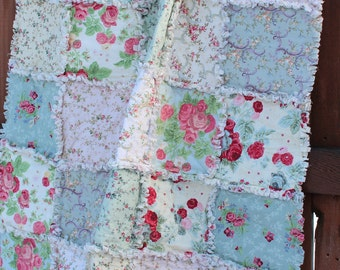 SALE: Shabby chic crib or toddler rag quilt in soft pink, white, lavender and green floral prints