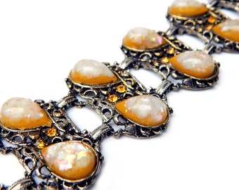 Juliana Autumn Orange Bracelet 1960s Vintage Confetti Lucite Rhinestone DeLizza And Elster Verified SALE Coupon Sparkle2016 For 15% Discount