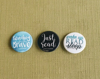 3 Bookish Buttons