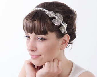 Leaf Crown, Grecian Headband, Silver Metal Leaf and Crystal Tiara, Wedding Headpiece, Tiara for Adults, Leaf Hair Accessory, Bridal Crown