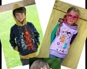 SALE Be Rad Hoodie - PDF Sewing Pattern Sizes 6 months - Big kid 12  Instant Download Printable Pattern