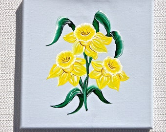 Hand Painted Yellow Daffodils On Blue Canvas Wall Art, Painted Wall Hanging, Wall Art, Housewarming Gift, Wedding Shower Gift, Home Decor