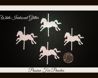 30 Iridescent White Glitter Carousel Horse Die Cuts Punches For Scrapbook Cards Party Confetti Crafts Embellishments Carousel Confetti