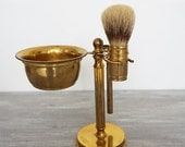 SALE Vintage Italian Brass Shaving Set, Stand with Razor,Shaving Brush and Bowl, Barber Decor shaving set