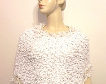 Covers arms stole was hand knitted cotton chic white and sand ceremony wedding shawl women fashion accessories